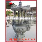 惠安石雕厂家 寺庙圆形香炉石雕 带盖石材香炉雕刻 品质保证