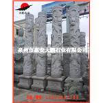 惠安石雕厂家 石雕龙柱 双龙雕刻龙柱 花