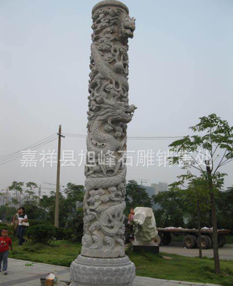 石雕文化柱 广场石雕浮雕龙柱 石柱子雕刻