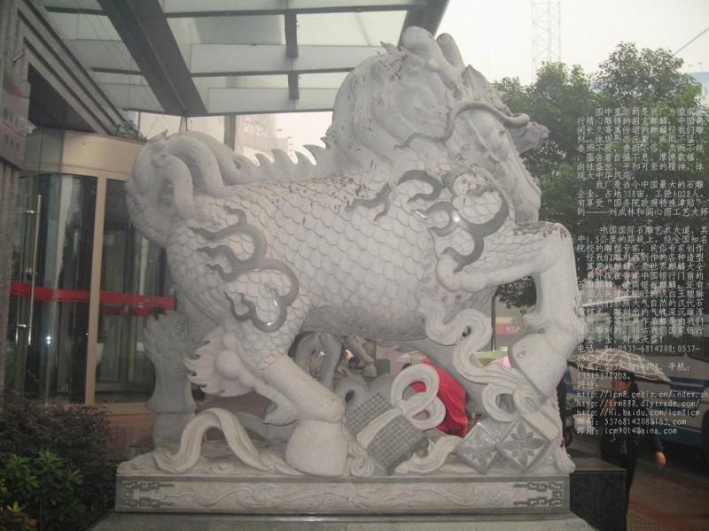 供应嘉祥各种规格尺寸石料石雕麒麟石雕徽商银行麒麟貔貅