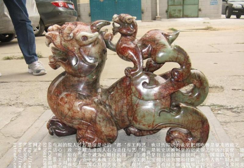 联合国命名工艺师石雕貔貅 天禄辟邪石雕麒麟独角兽 獬豸朝天吼