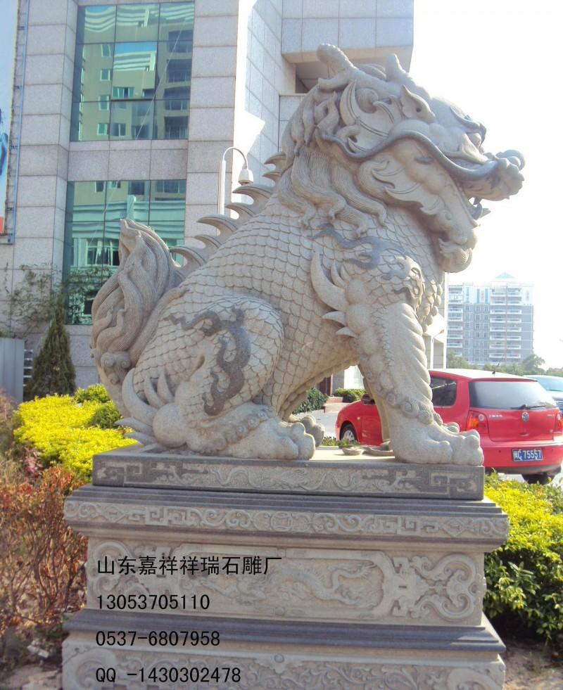 嘉祥祥瑞石雕厂高档精品石雕麒麟 雕刻石材麒麟