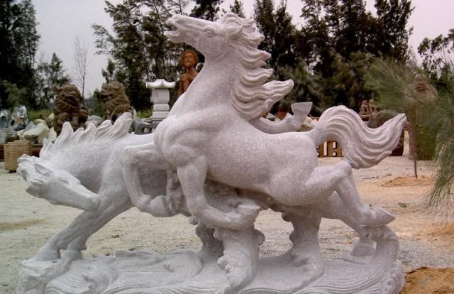 厂家直销  花岗岩石雕马 双马雕刻