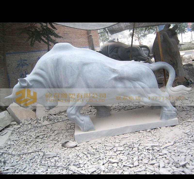 厂家直销 人物动物石雕 晚霞红石雕牛 加工定做