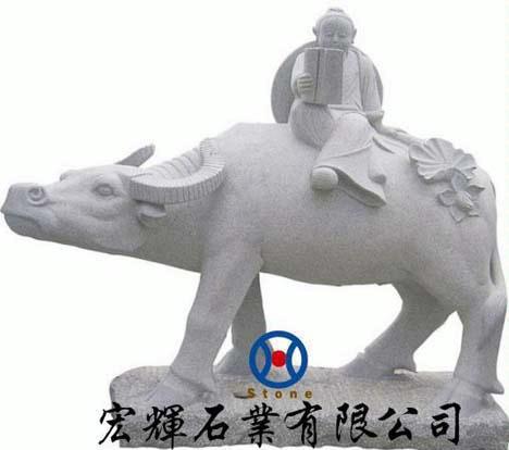 花岗岩动物雕塑|小孩骑牛石雕摆件|石雕牛雕塑|小孩吹笛骑牛石