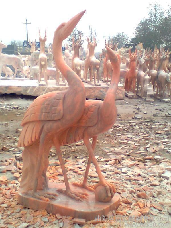 供应石雕仙鹤 大理石仙鹤 晚霞红鹤 仙鹤雕塑 动物雕刻