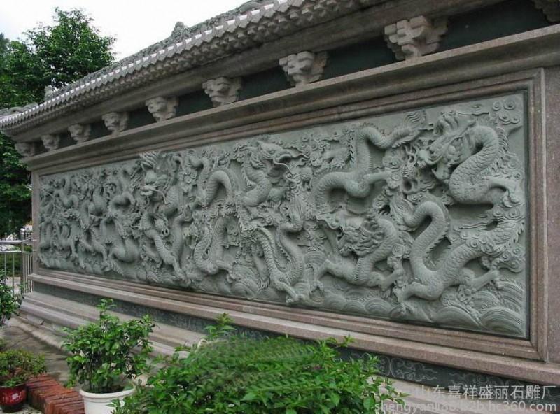 石雕石雕盘龙柱、华表、图腾柱,文化柱石雕十二生肖柱六棱锥石雕九龙壁