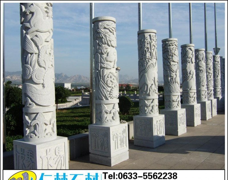 五莲花石雕十二生肖柱子(图)盘龙柱子石雕刻