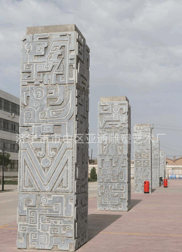 石雕文化柱 石雕滚龙柱 石雕历史文化柱 石雕十二生肖柱