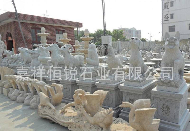 优质石雕产品十二生肖石雕,十二生肖龙柱