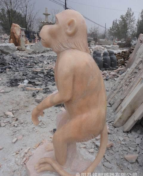 各种动物雕塑 各种姿态猴子石雕 十二生肖石雕 可来图定做