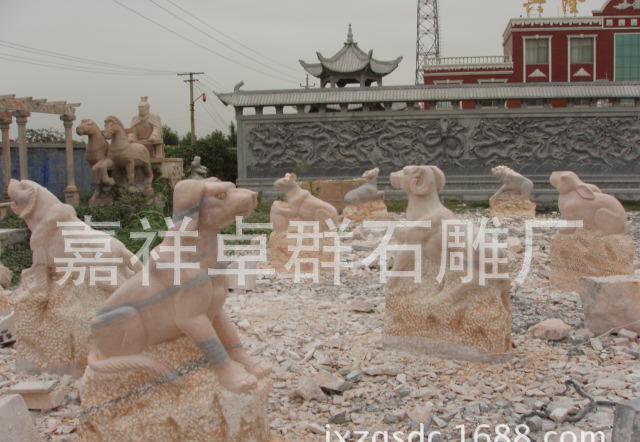 动物雕塑十二生肖石雕,十二生肖雕刻,生肖柱石雕,生肖雕塑