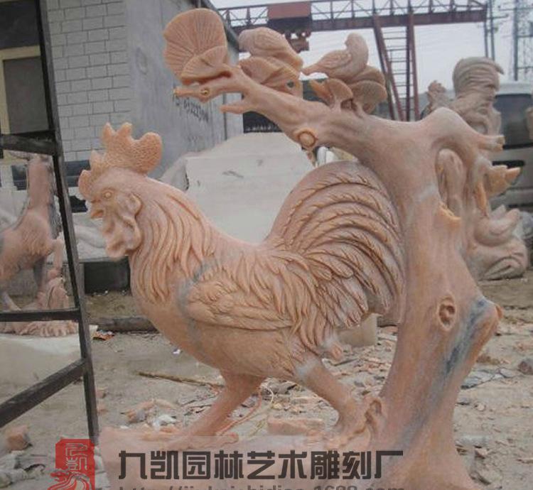 厂家直销石雕十二生肖鸡 公园雕塑 园林雕塑 大摆件鸡