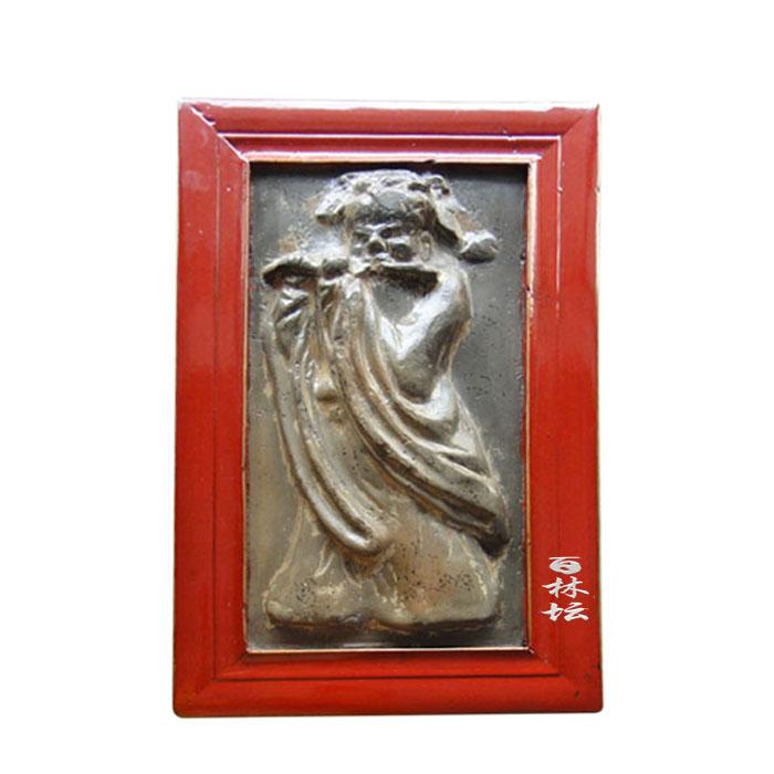 古代人物雕刻吹笛子画像老墙砖画 艺术收藏礼品摆件旧 红色实木框