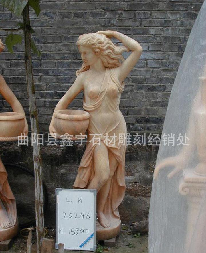 晚霞红西方人物雕塑 石雕人物雕刻 石雕西方人