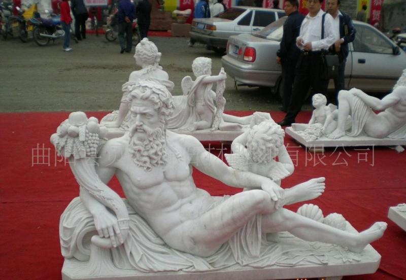 西方人物雕塑小天使园林景观喷泉人头像阿波罗洗浴