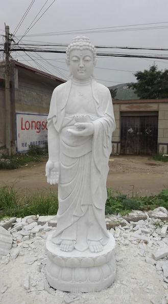 供应汉白玉石雕观音佛像 大型佛像雕
