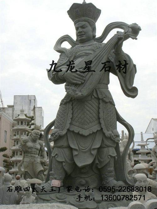 供应石雕四大天王 四大金刚石雕 石雕神像 佛教神将 增长天王