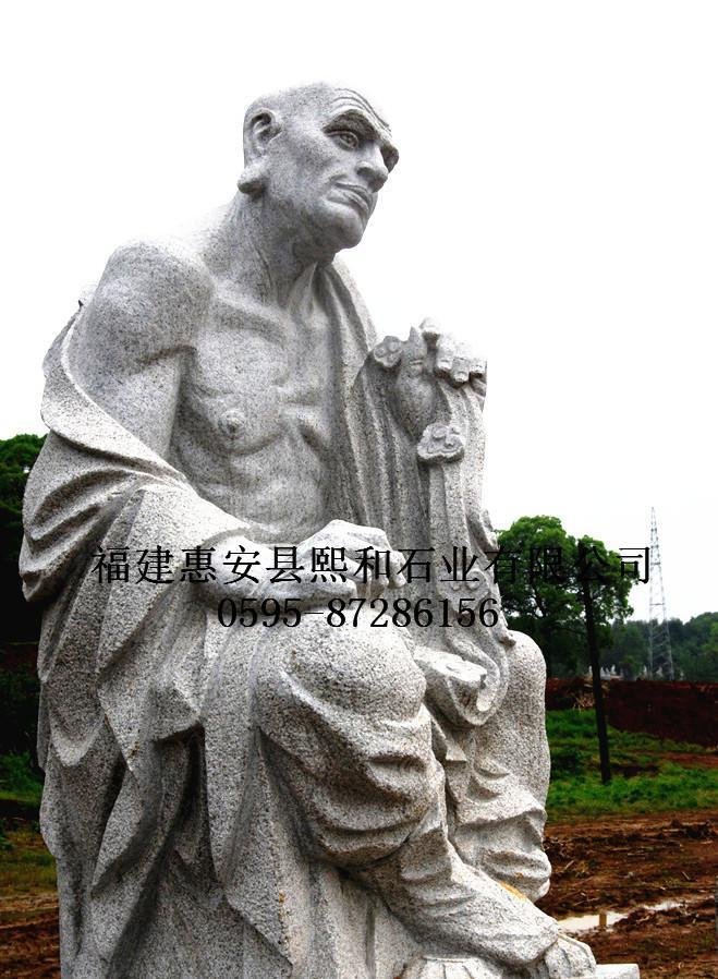1.8米古韵寿山石雕顺风耳罗汉像