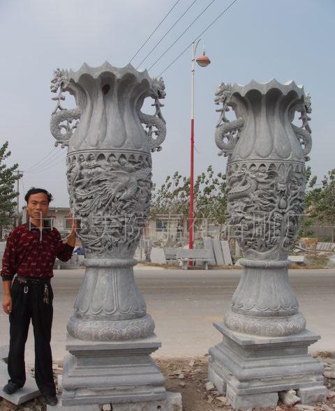 嘉祥石雕,石雕宝瓶,石雕花瓶,石鼎宝鼎礼器,石雕香炉石雕财鼎