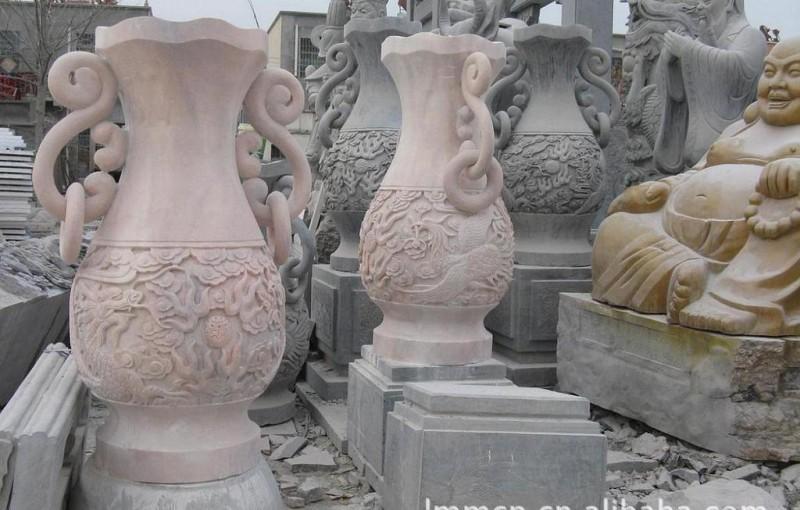 国家工艺师石雕花瓶梅花龙凤宝瓶圆鼎方鼎财鼎香炉石鼎天工炉花钵