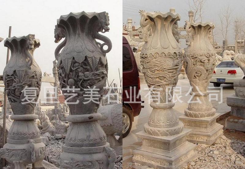 【厂家直销】石雕花瓶宝瓶龙凤香炉石鼎石雕宝鼎礼器花钵嘉祥石雕