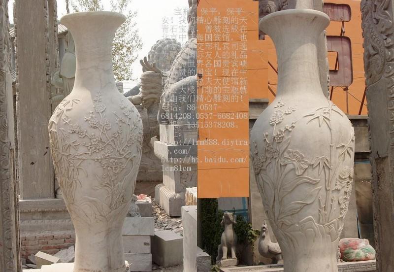 石雕平安宝瓶龙凤花瓶石雕宝鼎财鼎石雕香炉石鼎礼器花钵嘉祥石雕