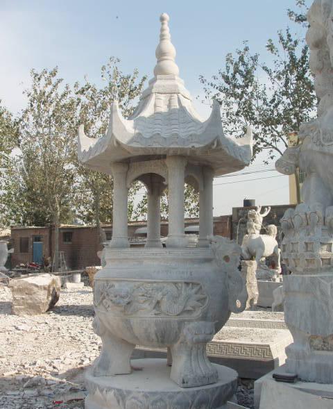 石雕天工炉石雕香炉石宝鼎 石雕方圆鼎礼器石雕宝瓶平安石雕花瓶