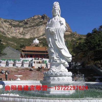 石雕观音雕像寺院汉白玉佛像观音菩