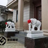 门口招财大象石雕大理石石头雕刻大小象石雕
