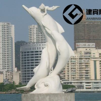 大理石海豚石雕海洋动物雕塑广场摆