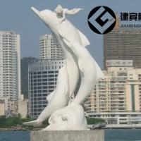 大理石海豚石雕海洋动物雕塑广场摆件