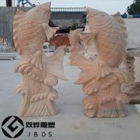 喷水鱼石雕-吐水鲤鱼石雕流水池造景雕塑