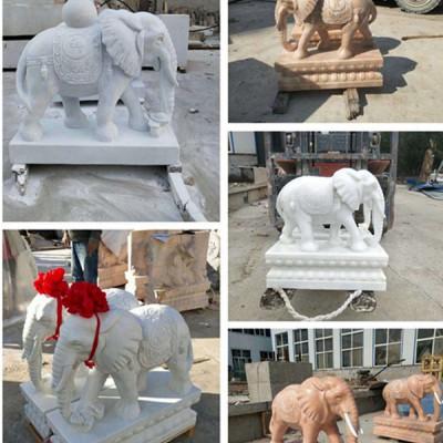 石头雕刻大象石雕庭院酒店别墅门前