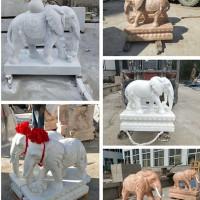石头雕刻大象石雕庭院酒店别墅门前门口大象雕塑摆件