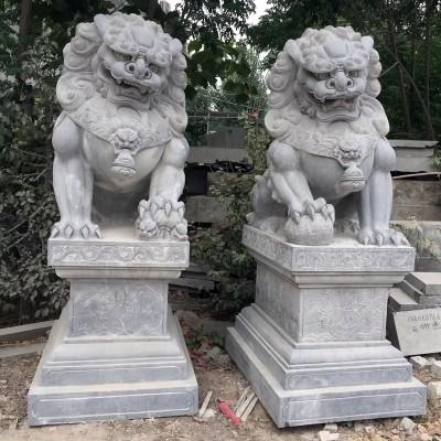 青石石雕狮子,厂家石雕动物可定制